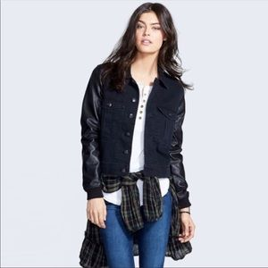 Free People | Faux Leather Sleeve Denim Jacket